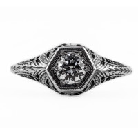 039bbr | Antique Filigree Ring | for a .42ct to .52ct round stone | Swirl<br>$669