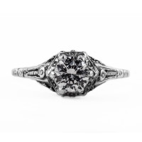 071bbr | Antique Filigree Ring | for a .75ct to .85ct round stone | Floral Design<br>$585