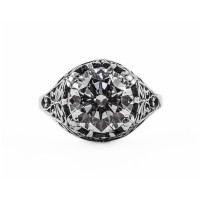 083bbr | Antique Filigree Ring | for a 3.45ct to 3.55ct round stone | Leafy Floral Design<br>$770