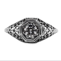 092bbr | Antique Filigree Ring | for a .42ct to .52ct round stone | Intertwining Lines<br>$736