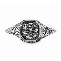 093bbr | Antique Filigree Ring | for a .75ct to .85ct round stone | Mantis<br>$770