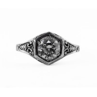 101bbr | Antique Filigree Ring | for a .90ct to 1.10ct round stone | Hexagonal Flowers<br>$659