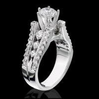 Diamonds On The Tips Modified 6 Prong Cathedral Split Band Princess Cut Ring<br>$2650