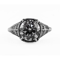 110bbr | Antique Filigree Ring | for a 3.45ct to 3.55ct round stone | Victorian Inspired<br>$1205