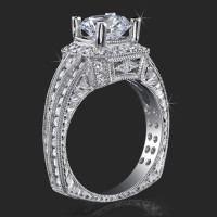 Crown Flat Bottom European Style Band with Over 80 Hand Set High Quality Diamonds