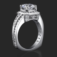 Trio Channel Set Round Diamonds with Artistic European Style Thick Band Halo Head<br>$3100