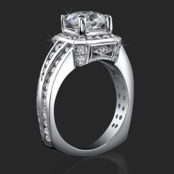 Trio Channel Set Round Diamonds with Artistic European Style Thick Band Halo Head