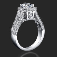 Baguette and Round Halo Style Diamond Engagement Ring with Large Peekaboo Side Diamonds<br>$3650