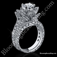 1.67 ctw. Small Hand Engraved Blooming Beauty Wedding Ring Set<br>$5400