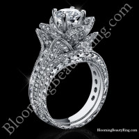 1.67 ctw. Small Hand Engraved Blooming Beauty Wedding Ring Set