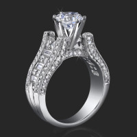 Best Quality 6 Prong Tiffany Style Engagement Ring with Alternating Round and Baguette Diamonds