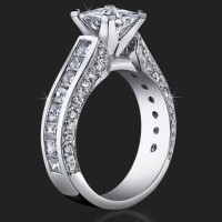 Best Selling Tiffany Style Princess Diamond Engagement Ring with Big Diamonds<br>$3300