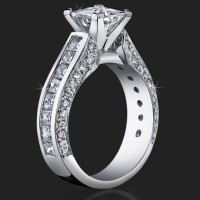 Best Selling Tiffany Style Princess Diamond Engagement Ring with Big Diamonds<br>$3499