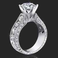 2.10 Carat Round Diamond Engraved Engagement Ring with Huge Quarter Carat Channel Set Diamonds<br>$4200