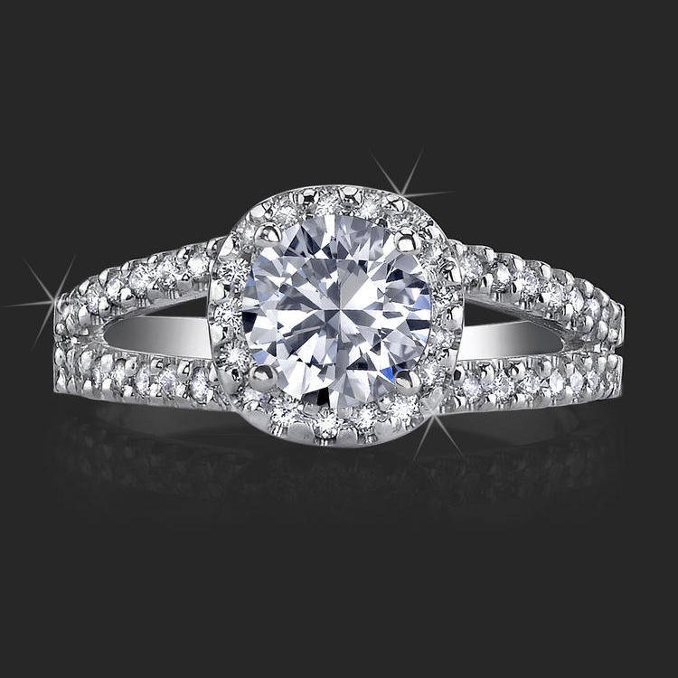 nouveau 4 prong split shank halo setting with pave