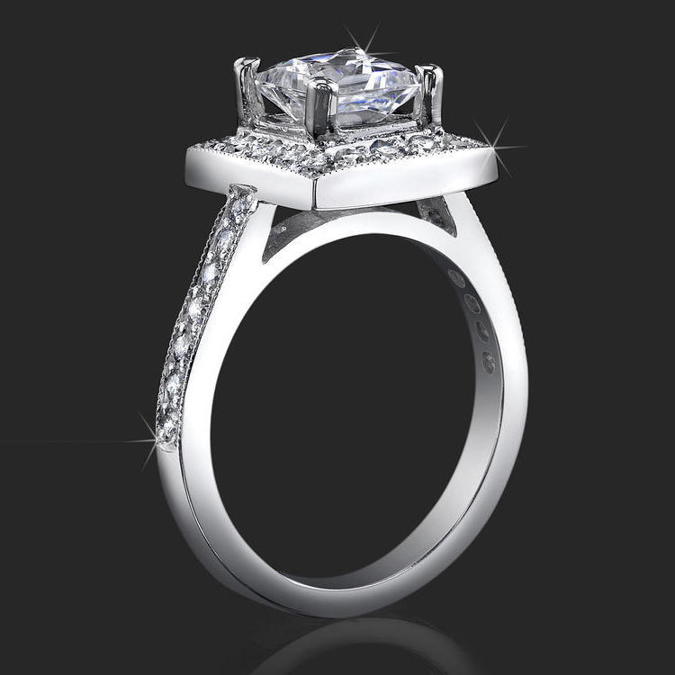Low Set Princess Cut Diamond Halo Ring with Round Pave Diamonds – bbr399