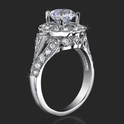 .60 ctw. Diamond Halo Diamond Channel Set Engagement Ring