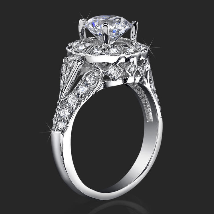Image result for high stone halo ring