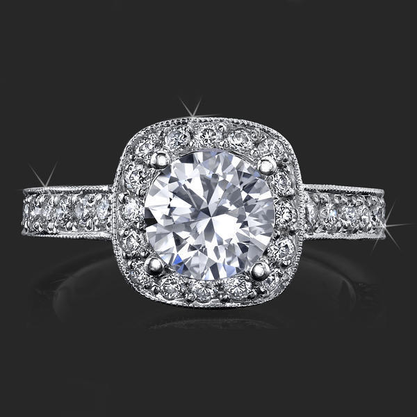 Unique Style Halo Engagement Ring With Ultra Diamonds High