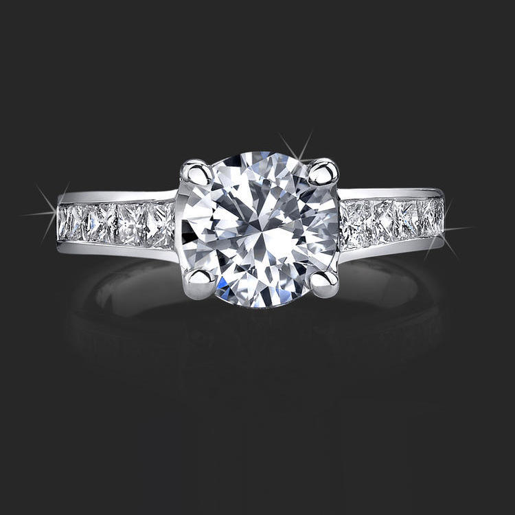 Invisible Channel Set Princess Diamond Ring Wide Band With