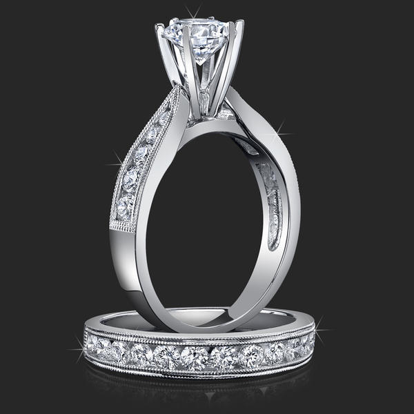 Jewelers Pride Pointed Cathedral Engagement Rings with Diamonds in the