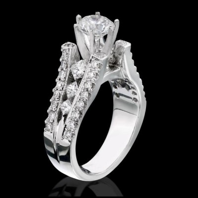 1.03 ctw. Princess and Round Split Shank Diamond Engagement Ring - bbr1165