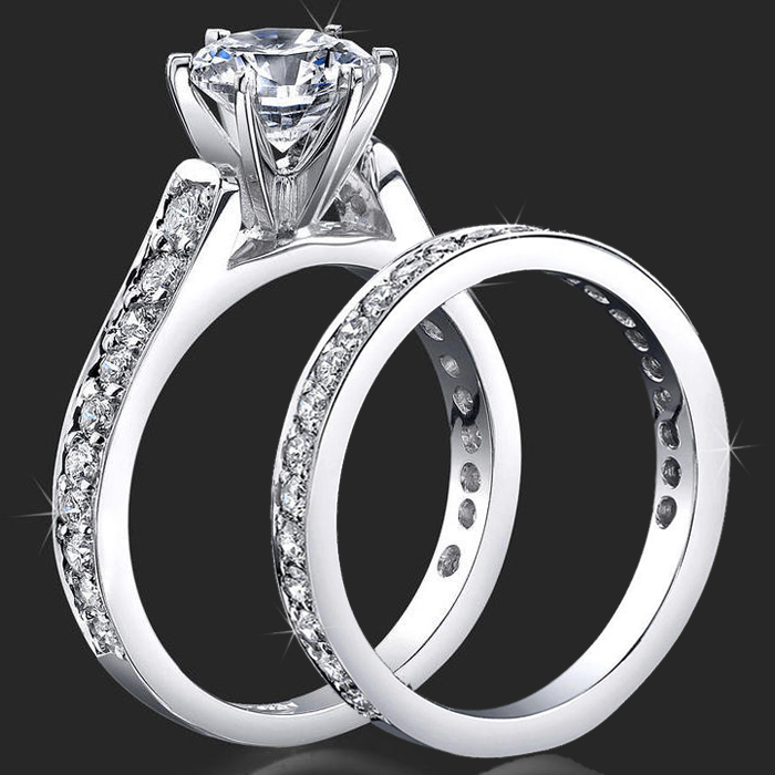 Jewelers 6 Prong Reverse Tapered Engagement Rings Handmade