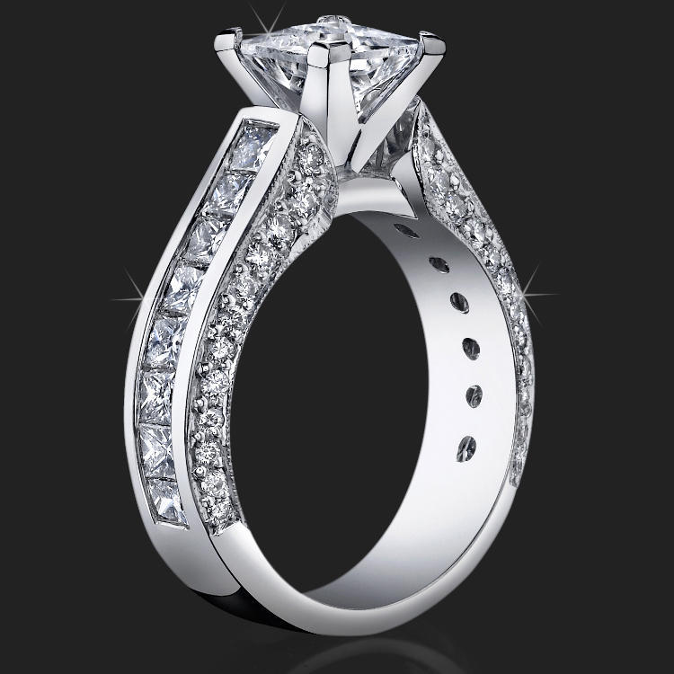 Best Selling Tiffany Style Princess Diamond Engagement Ring With Big Diamonds Bbr411