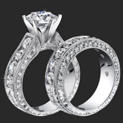 4.20 ctw. Round Diamond Millegrain Engraved 6 Prong Diamond Engagement Ring Set - bbr389set