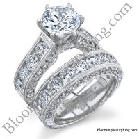 4.10 ctw round diamond engraved 6 prong engagement ring set - tilted side view