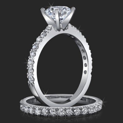 .65 ctw. Elegant Pave Set 4 Prong Engagement Ring Set - bbr465