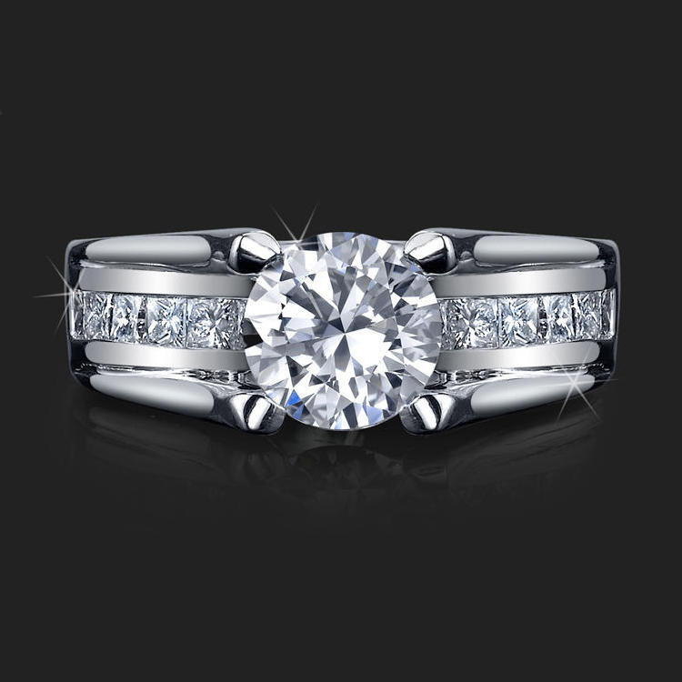 Wide Band Floating Diamond With Invisible Channel Set