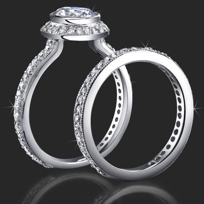 jewelers affordably priced bezel set halo engagement