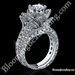 4 Prong Hand Engraved Flower Engagement Ring Set