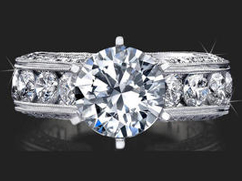 2 Carat Round Diamond Engraved Engagement Ring with Huge Quarter Carat Channel Set Diamonds