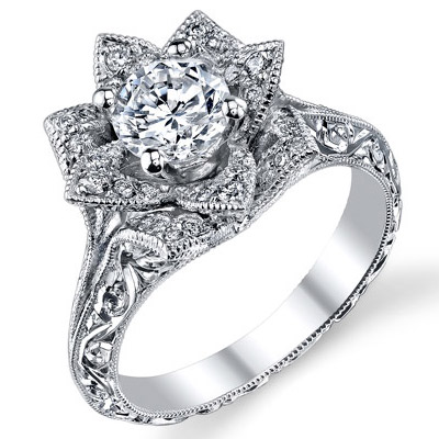Hand Engraved 8 Petal 58 Ct Diamond Lotus Flower Ring Bbr588 2