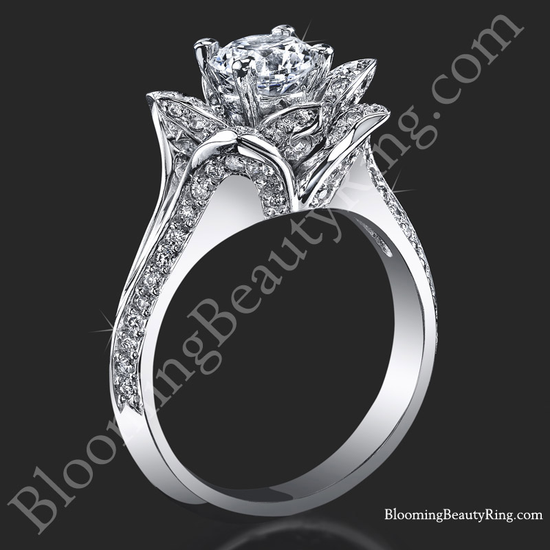 Lotus Flower Diamond Ring Setting