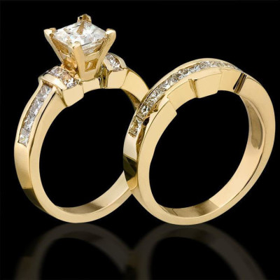 2.0 ctw. Channel Set 4 Prong Princess Diamond Engagement Ring Set Standing