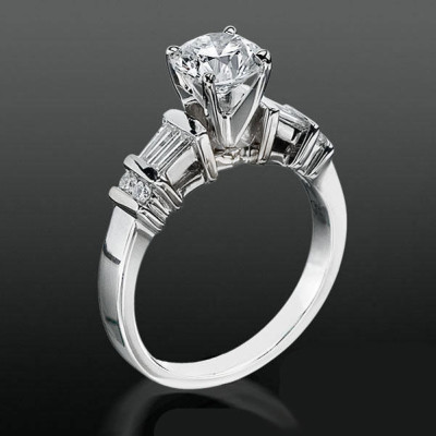 Tiffany Style Engagement Ring with Tapered Baguette and Small Round Side Accent Diamonds bbrnw6010