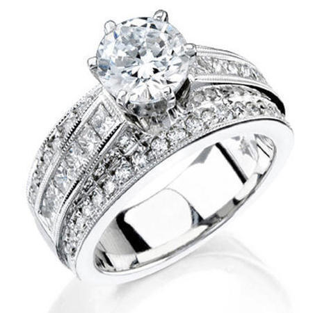 ... 3 Band Round Pave and Channel Set Princess Diamond Engagement Ring  Turned