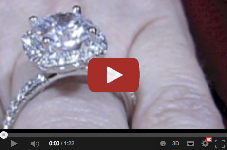 diamond halo engagement ring shown on the finger video
