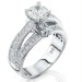 Emerging Pave Center Band with Connecting Round Bar Diamond Engagement Ring Turned