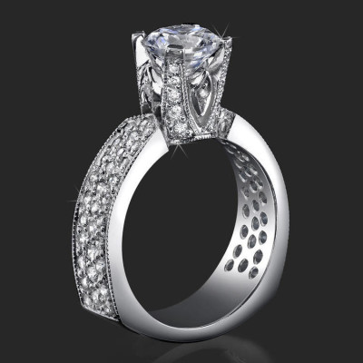 Enhanced Tiffany Style High Mount Pave Diamond Engagement Ring - bbr222