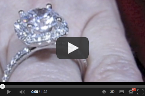 halo diamond engagement ring on the hand video
