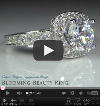 Halo Diamond Engagement Ring Video