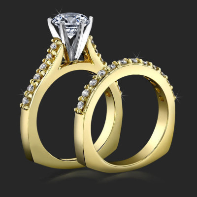 Raised Step Prong Round Diamond Engagement Ring Set with Flat Rounded Bottom Band - bbr445set