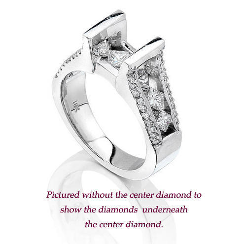 Set Open Band with a Large Channel Set Diamond Bridge Engagement Ring