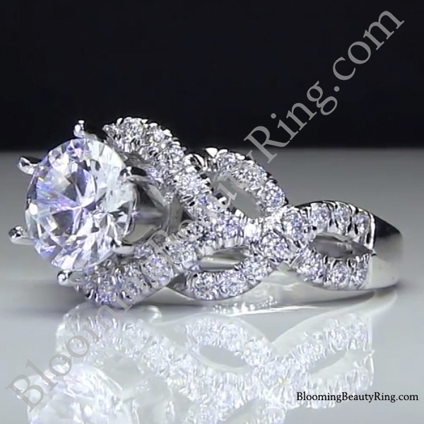 6 prong beautiful crossover pave set designer engagement ring laying left - Exotic Wedding Rings