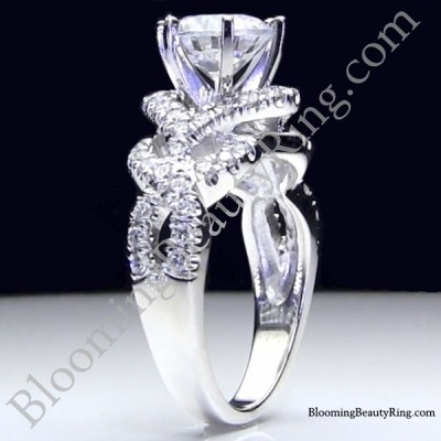 6 Prong Beautiful Crossover Pave Set Designer Engagement Ring - bbr595