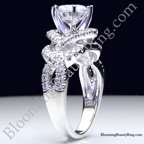 6 prong beautiful crossover pave set designer engagement ring bbr595 - Exotic Wedding Rings